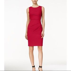 NEW Red Calvin Klein Front Pleat Sheath Dress
